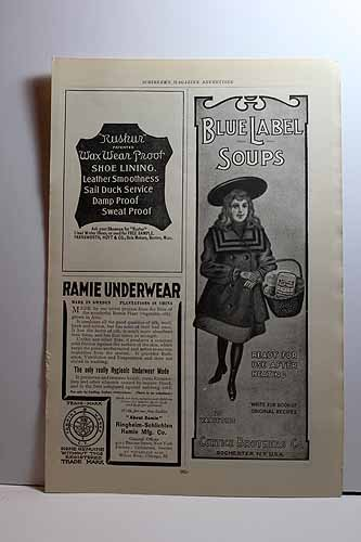 """Advertisement for Rushur Shoe Lining; Ramie Underwear; Curtice Brothers Blue Label Soups """"High Art Insured Clothing"""""""