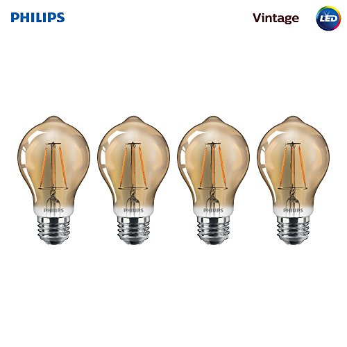 Philips LED 461632 60 Watt Equivalent Soft White Vintage A19 Dimmable LED Light Bulb, 4 Pack Piece