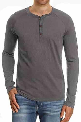 d6ef7cb0181 Hakjay Mens Casual Henley Shirts Long Sleeve T Shirt Plain Slim Fit Tees