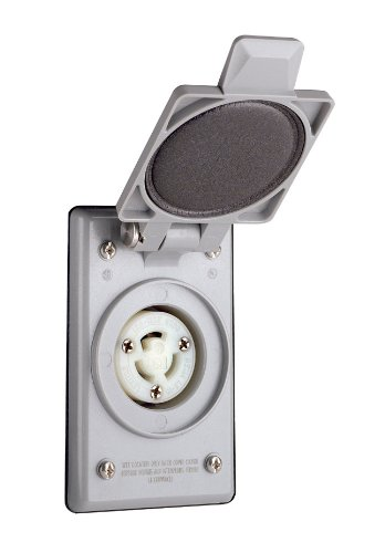 Leviton 4715-CWP 15 Amp, 125 Volt, Power Outlet Receptacle, Locking Blade, Industrial Grade, Grounding, Gray