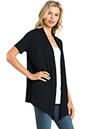 12 Ami Basic Solid Short Sleeve Open Front Cardigan (S-3X) - Made in USA