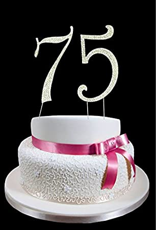 Large Number 75th Birthday Wedding Anniversary Cake Topper With Sparkling Rhinestone Crystals