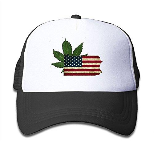 Discount DNUPUP Kid's Cannabis Vintage American Flag Adjustable Casual Cool Baseball Cap Mesh Hat Trucker Caps for cheap