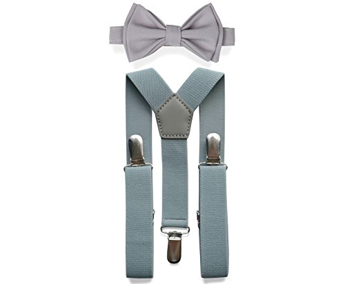 Light Grey Suspenders Bow Tie Set for Baby Toddler Boy Teen Men (2. Toddler (18 mo - 6 yrs), Light Grey Suspenders, Light Grey Bow Tie)