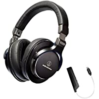 Audio-Technica ATH-MSR7BK Black SonicPro Over-Ear High-Resolution Audio Headphone PLUS Blucoil AQUA Portable In-Line DAC and Amplifier - iPhone Lightning Adapter​