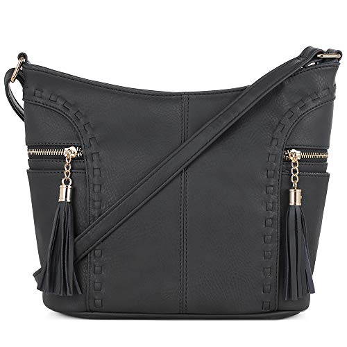 DELUXITY | Crossbody Hobo Slouch Bucket Purse Bag | Side Pockets with Tassel | Adjustable Strap | Black