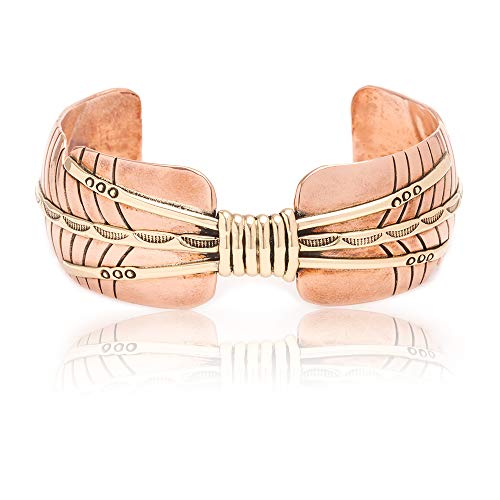 (RARE $240 Retail Tag Authentic Navajo Native American Pure Copper and Brass Cuff Bracelet)