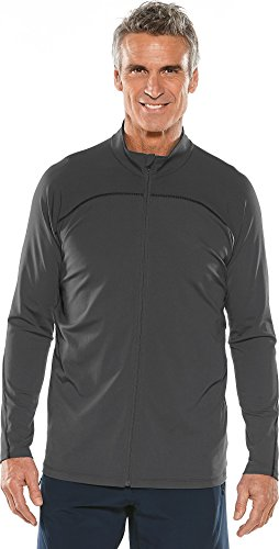 Coolibar UPF 50+ Men's Long Sleeve Water Jacket - Sun Protective (Medium- Charcoal) by Coolibar