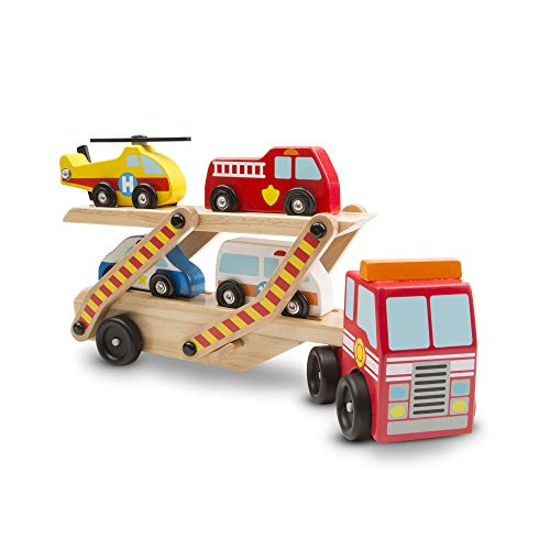 Melissa And Doug Car Carrier (Melissa & Doug Emergency Vehicle Carrier (Two-Level Tractor-Trailer Truck Toy with 4 Vehicles, Great Gift for Girls and Boys - Best for 3, 4, 5, and 6 Year)