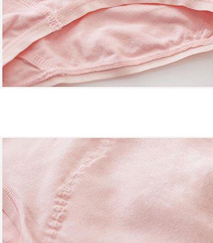 [3] Paquete De Ropa Interior De Algodón Elástico De Alto Calibre Escritos Chica Transpirable Cintura Abdomen Cintura Cadera De La Mujer Beige