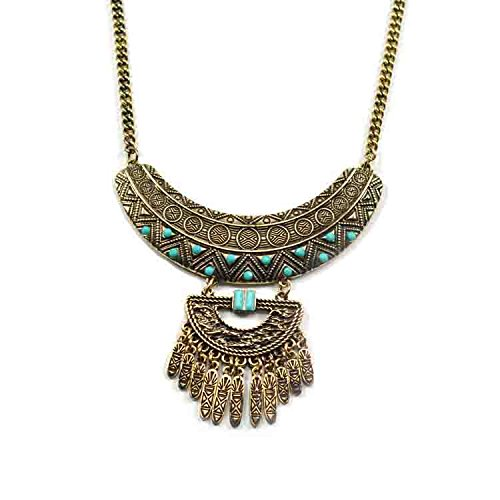 [Romantic Time Vintage Two-Tone Style Carved Green Hearts Statement Pendant Necklace] (Egyptian Woman Costume Uk)