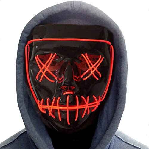 Halloween Mask,LED Masks Glow Scary Mask Light Up Cosplay Mask Rave Mask for Festival Music Party Parties Costume Christmas (LED mask for red 1)