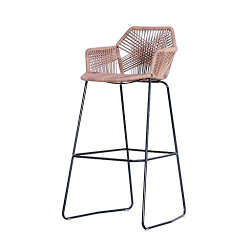 High Chair-Metal Woven Wicker Chair Outdoor Bar Bar Stool Front Desk Chair Rattan Lounge Chair JINRONG (Color : A) (Rattan Set Sale Dining Vintage)