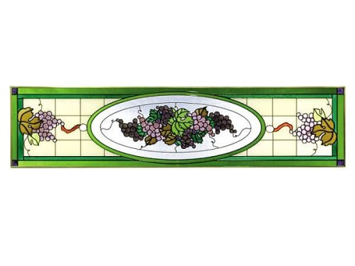 Grapevine Victorian Purple Horizontal Art Stained Glass Panel Wall Hanging Suncatcher 10 x 42 -
