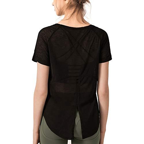 - Women's Breezy Workout Shirt Tie Back Yoga Top Summer Tee Quick Dry Short Sleeve Black