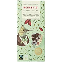 Bennetto Natural Foods Organic Nibs and Mint Dark Chocolate Bar 100 g,  100 g