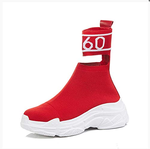 Zapatos Rojo de Coreanos Altos TSNMNB elásticos Fuego Salvaje de Mujer Súper Plataforma Gruesa Calcetines Botas Casuales Botas de Zapatos xxnZHOU