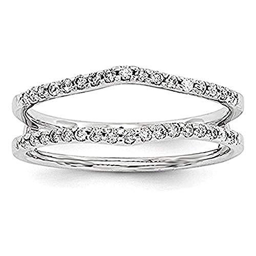 tusakha 14k White Gold Finish Sterling Silver Plated Simulated Diamonds Wedding Band Ring Guard Enhancer (5)
