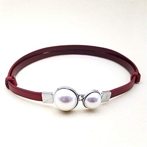 Lostryy Women's Lacquer Waist Belt/European Fashion Decoration Dress Pearl Buckle Leather Waist/Cutout Multifunctional Adjustable Belt, red