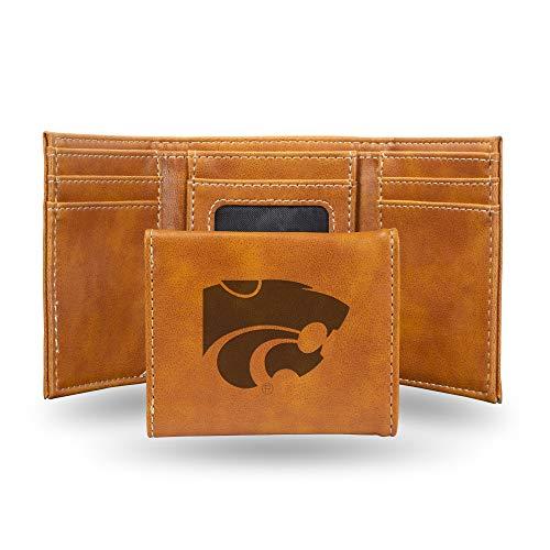 Rico Industries NCAA Kansas State Wildcats Laser Engraved Tri-Fold Wallet, Brown