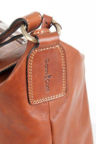 Gianni Conti fein italienisches Leder hellbraun Reisetasche Schultertasche 912078