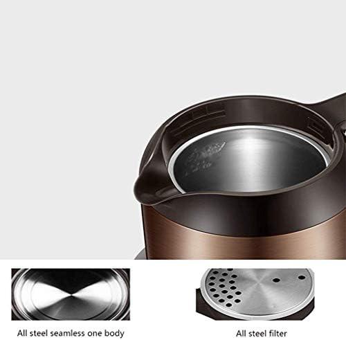 HLJ Arrêt automatique bouilloire électrique, Anti-chaud intelligent isolé bouilloire, 1.7L, brun foncé