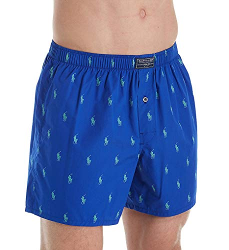 (Polo Ralph Lauren Printed Polo Player 100% Cotton Woven Boxer (R382SR) L/Cruise Royal/Kelly)