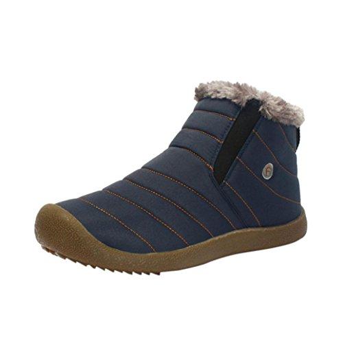 Stivali da uomo caviglia pattini di lavoro, SOMESUN Winter Snow Stivaletti pelliccia pattini casuali foderato da uomo Scarpe da lavoro all'aperto Blue