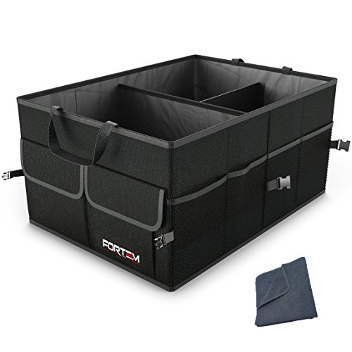 FORTEM Car Trunk Organizer for SUV Truck | Auto Durable Collapsible Cargo Storage | Non Slip Bottom Strips to Prevent Sliding | Bonus Foldable Thin Nylon Waterproof Cover (Wagon Trunk Liner)