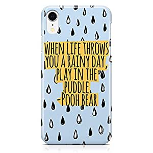 Loud Universe Rain Quote Rain Day iPhone XR Case Pooh Cartoon iPhone XR Cover with 3d Wrap around Edges