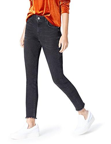 find. Women's Skinny High Rise Stretch Frayed Hem Jeans, Black (Schwarz), W28 x L32 (Denim Schwarz)