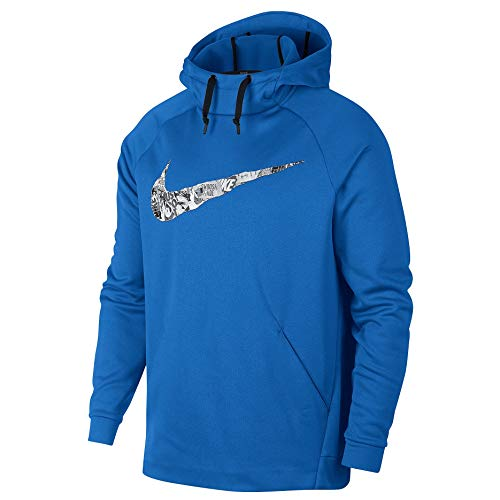 Nike Men's Big and Tall Therma-Fit Dri-Fit Training Pullover Sweatshirt Hoodie (Signal Blue Swoosh, 3XL)