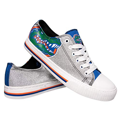 FOCO NCAA Florida Gators Womens Glitter Low Top Canvas Shoesglitter Low Top Canvas Shoes, Team Color, 6/Small (Florida Gators Glitter)