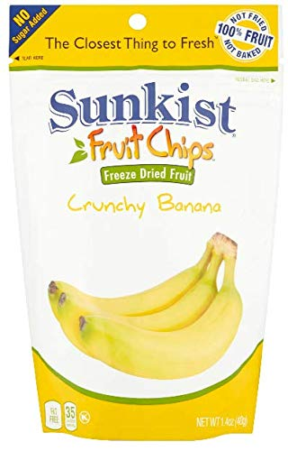 (3 Pack) Fat Free Banana Slices, Crunchy Freeze Dried Fruit Chips Great For Lunches, 1.4 oz