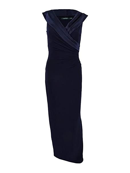 516aad94677 Lauren by Ralph Lauren Women s Satin-Neckline Column Gown (18