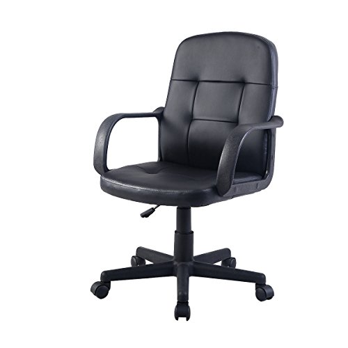 Super buy New PU Leather Ergonomic Midback Executive Computer Desk Task Office Chair Black