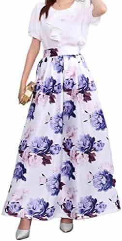 e3dbcc6228 Novia's Choice Women African Floral Print Pleated High Waist Maxi Skirt  Casual A Line Skirt(