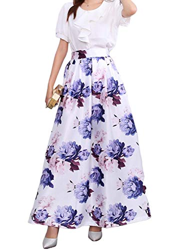 (Novia's Choice Women African Floral Print Pleated High Waist Maxi Long A-Line Skirt(Purple Flower L))