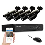 SANSCO Home Security Camera System with 4-Channel 1080N Smart DVR and 4 Bullet Cameras (Super HD 720p 1MP) Smart Surveillance Cameras Kit, No HDD Included