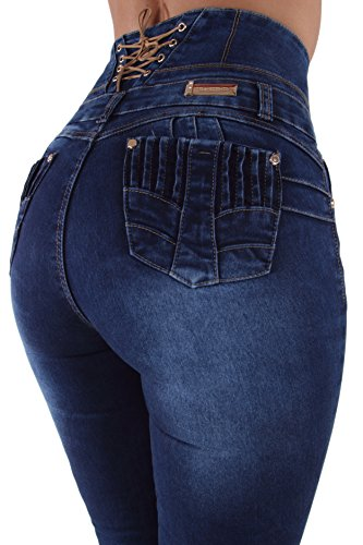 (Colombian Design, Butt Lift, Levanta Cola, High Waist, Skinny Jeans in Blue Size 11 (ML1))