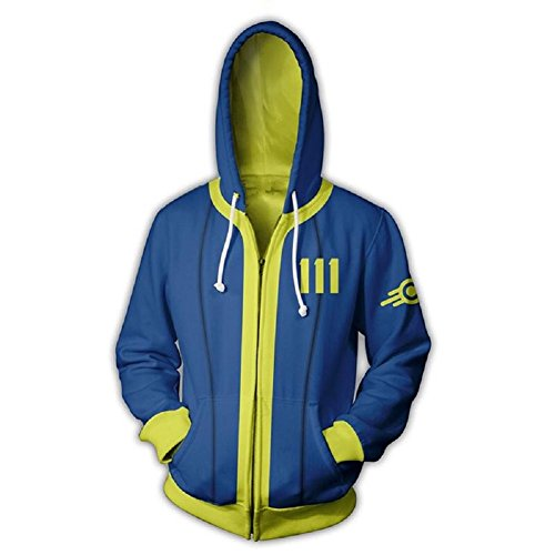 Hot Game Role Cosplay Vault 111 Hoodie Blue Zip Up Hooded Jacket Coat Costume XL