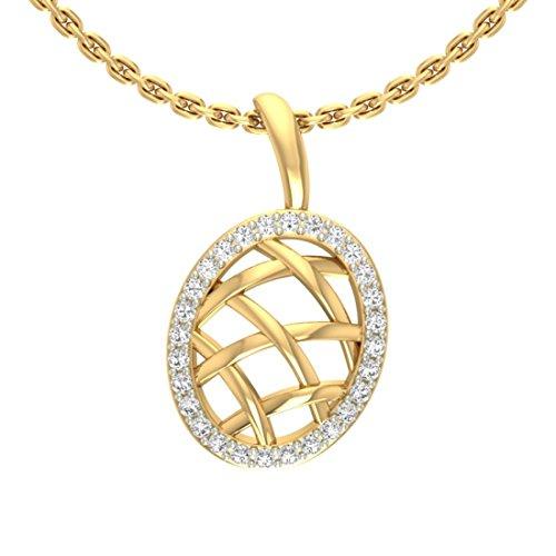 14K Or jaune 0.17CT TW Round-cut-diamond (IJ | SI) diamant Pendentif