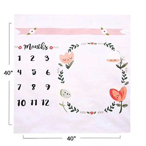 Baby Monthly Milestone Blanket | Throw for Infant & Babies 0-3 Months, 3-6, 6-9, 9-12 Photography Backdrop Photo Prop for Newborn Boy & Girl - New Mom Baby Shower Gift by Upside Up (Image #1)