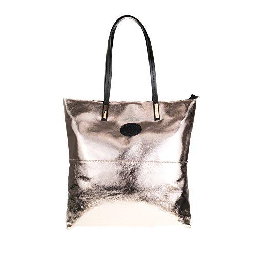 FIRENZE ARTEGIANI.Bolso shopping bag de mujer piel auténtica.Bolso cuero genuino lacado y metalizado.Asas en piel Dollaro. MADE IN ITALY. VERA PELLE ITALIANA. 38x38x7 cm. Color: DORADO Dorado