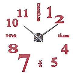 Wall Clock Quartz Watches Fashion Watches 3D Real Big Wall Clock Brushed Mirror Sticker DIY Living Room Decoration 47 inches (Color : Red)