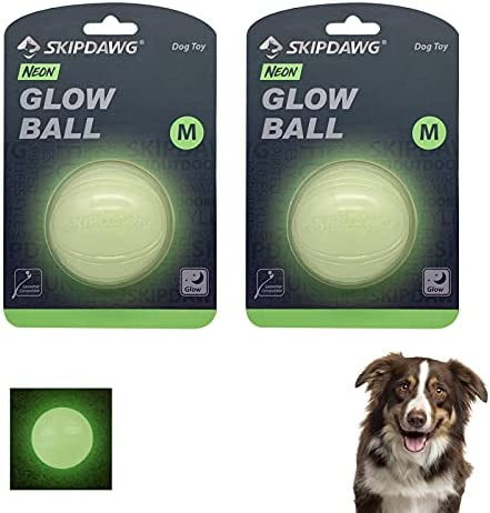 PETGEEK SKIPDAWG Dog Ball High Visibility Glow in the Dark Strong Dog Toys Durable Squeaky Balls for Dogs Interactive Dog Toys Night Glowing Fetch Ball Exercise BallMedium (6.5 cm) – 2 Pack
