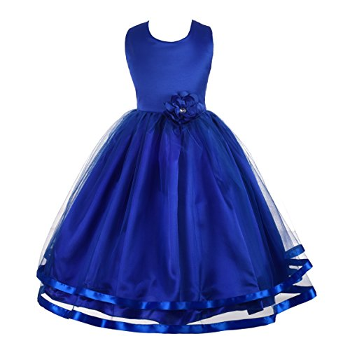 Dressy Daisy Girls Wedding Flower Girl Dress Pageant Dress Ribbon Trimmed Tulle Size 6 Blue
