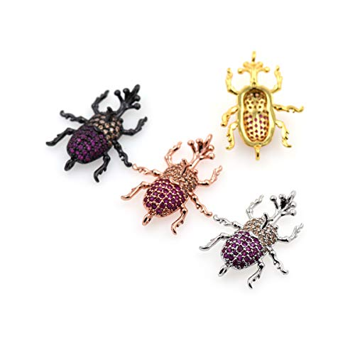(Beetle Pendant Charm,Cubic Zirconia Micro Pave Connector/Link,Metal Spacer Beads,Original Jewelry Findings 25x20mm 10Pcs (MixColor))