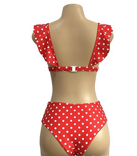 Estate Bagno Rosso V Vita Pois Profondo E Piscina Mare Da Vintage Pezzi Volant Spiaggia Donna A Con Costumi Due Alta Bikini Tankini 1wxvEqZYff