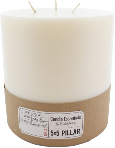 HomArt Pillar Paraffin Wax Candle, 5-Inch by 5-Inch, Ivory